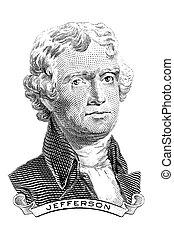 Thomas Jefferson - Gravure of Thomas Jefferson in front of...