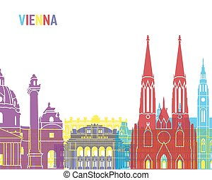 Vienna skyline pop in editable vector file