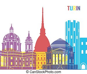 Turin skyline pop in editable vector file