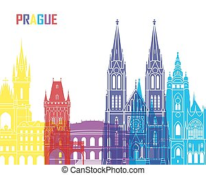 Prague skyline pop in editable vector file