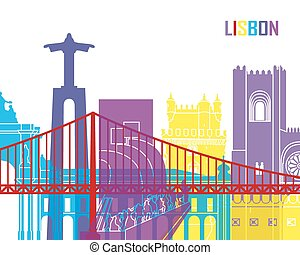 Lisbon skyline pop in editable vector file