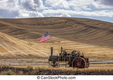 motor, bandera, campo, vapor