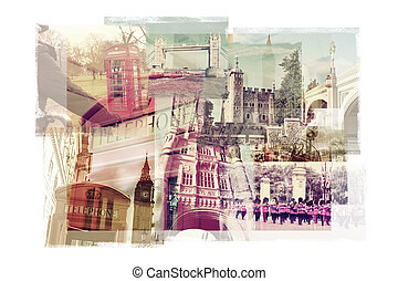 multiple exposures of different landmarks in London, United Kingdom