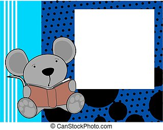 cute baby mouse reading cartoon