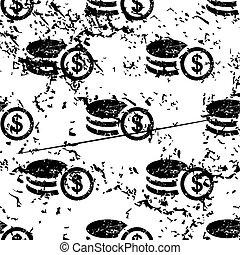 Dollar rouleau pattern, grunge, monochrome - Dollar rouleau...