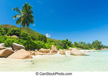 Anse Petite - Beautiful beach Anse Takamaka seen from the...