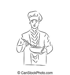 Cooker - Man with spoon. Hand drawn vector illustration