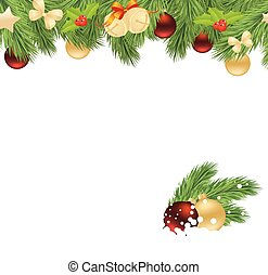 christmas corner - Holiday background with fir twigs and...