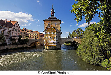 historic town hall of bamberg on a bridge over the regnitz...