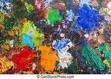 paleta, con, pinturas,