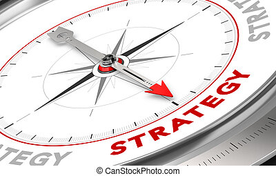 Strategy - Compass with needle pointing the word strategy....