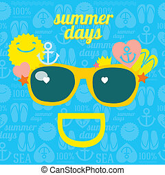 Summer funny smile sunglasses for beach party - Vector...