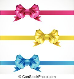 Set of gift bows with ribbons. Pink, gold and blue color.