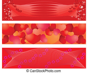 set of 3 banners on balentine day, vector additional