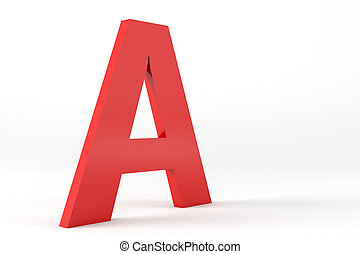Isolated Red Letter A - 3D Red Letter A Isolated White...