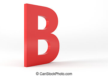 Isolated Red Letter B - 3D Red Letter B Isolated White...