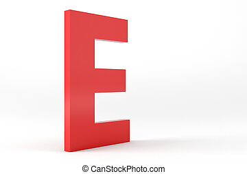 Isolated Red Letter E - 3D Red Letter E Isolated White...