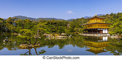 dourado, (zen, Pavilhão, kinkakuji, Kyoto, Japão, temple)...