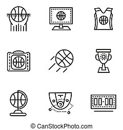 Basketball simple line vector icons
