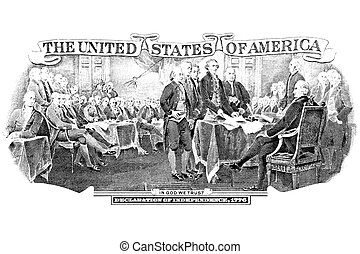 Black and white engraving of Declaration Of Independence