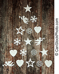 Decorative Christmas tree design on wood - Decorative...