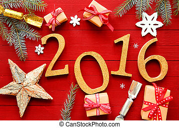 Festive red 2016 New Year background with the date...