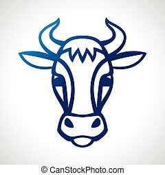 Cow head silhouette emblem design on white background