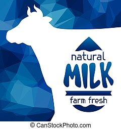 Milk emblem design on abstract polygon background