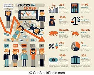 Stocks Crash - Illustration of stocks market crash...
