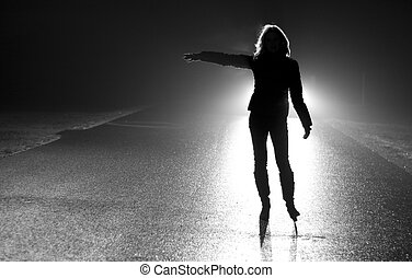 Stop - Black and white photo of woman - hitchhikers...