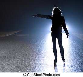 Stop! - Woman - hitchhikers silhouette at night in car...