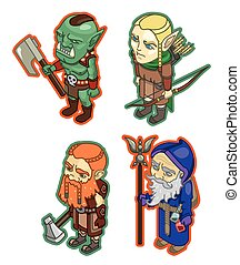 Stylized fantasy characters. The dwarf, mage, orc, elf