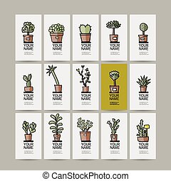 Business cards with cactus in pots, sketch for your design...