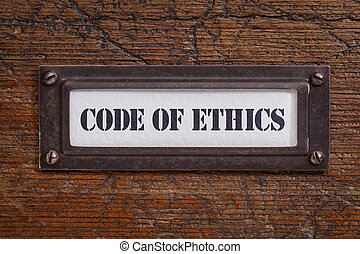 code of ethics -  file cabinet label