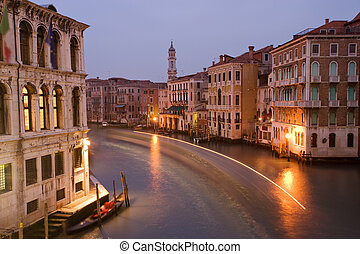 Grand canal - Houses along Venetian Grand Canal at twilight