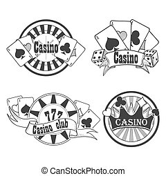 Casino and gambling badges or emblems each with word Casino...