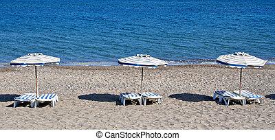kefalos, Plaża, wyspa, Krzesła, grecja,  Kos, Parasole