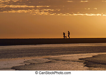 Couple walking on the beach with dog at sunrise - Human...