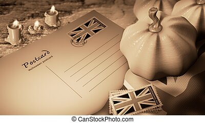 united kingdom  halloween day and postcard sepia color styles