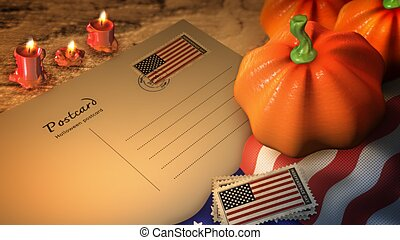 united states of american halloween day and postcard