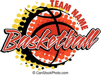 basketball team design with ball and graphic dots