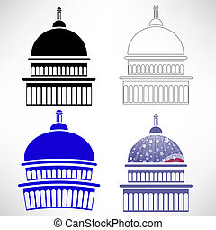 Capitol Icons - Set of Capitol Icons Isolated on White...