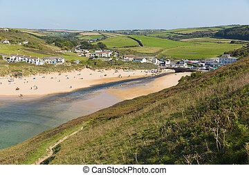 Mawgan Porth beach north Cornwall England near Newquay and...