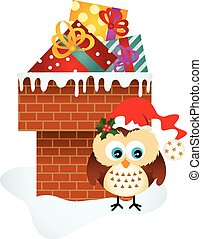 Christmas owl on chimney with gifts - Scalable vectorial...