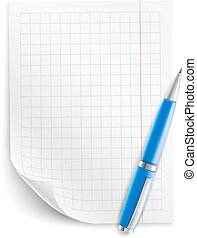 Blank sheet of paper with grid and pen
