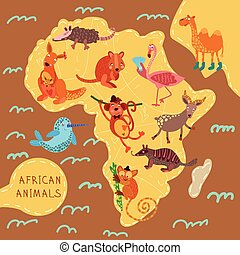 Map of Africa with cute animals in vector. African animals...