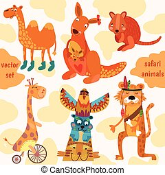 Safari animals:Quokka, tiger, camel, giraffe, kangaroo in...