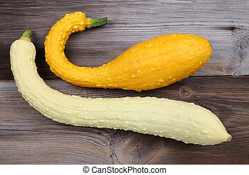 Squashes - Squash and zucchini on a wooden background