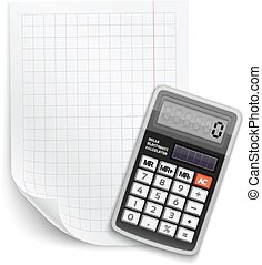 Blank sheet of paper with claculator