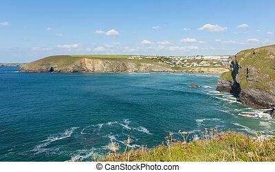 Coast Mawgan Porth beach Cornwall - Mawgan Porth coast north...